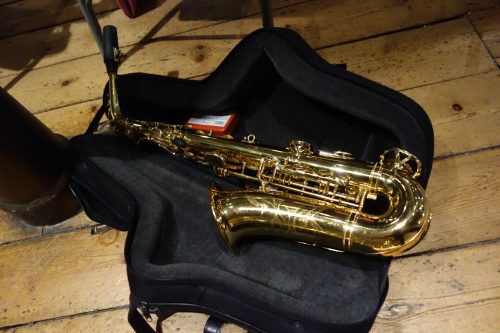 Saxophone in case