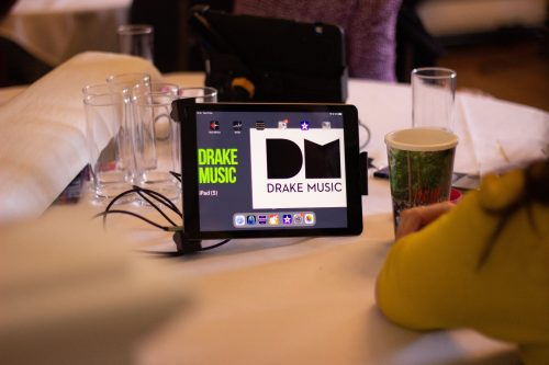 Drake Music ipad set up on table