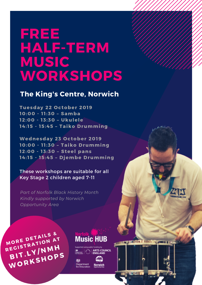 Workshops with Louder Than Life flyer for Black History Month 2019