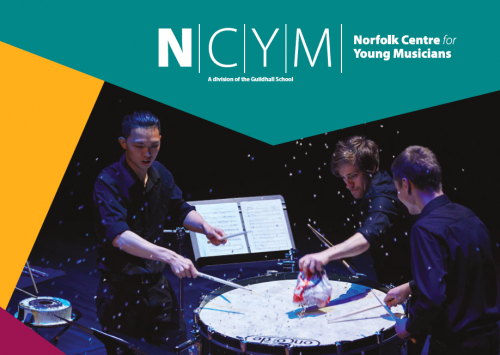 NCYM Open Day flyer with percussion students playing drum