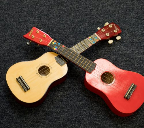 Red and brown ukuleles